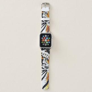 Bracelet Apple Watch Tigre dans la neige noir