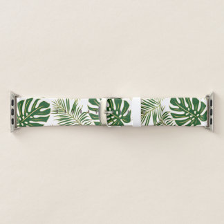 Bracelet Apple Watch Vert tropical et or de feuille