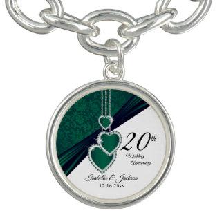 Bracelet Avec Breloques 20ème Souvenir vert d'anniversaire de mariage