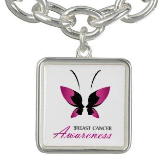 Bracelet Avec Breloques Appui de conscience de cancer du sein