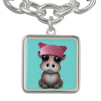 Bracelet Avec Breloques Casquette de port de chat d'hippopotame mignon de