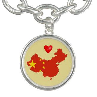 Bracelet Avec Breloques Charme de la Chine d'amour