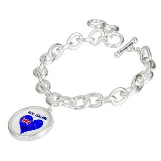 Bracelet Avec Breloques Drapeau de coeur de la Nouvelle Zélande