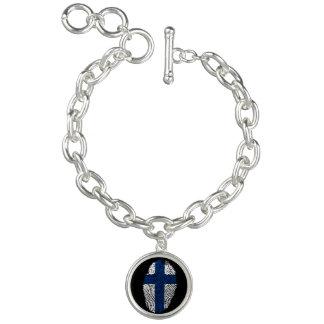 Bracelet Avec Breloques Drapeau finlandais d'empreinte digitale de contact