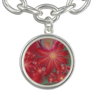 Bracelet Avec Breloques Floral rouge surréaliste