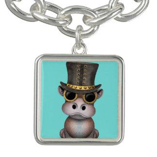 Bracelet Avec Breloques Hippopotame de bébé de Steampunk