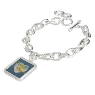 Bracelet Avec Breloques J'aime la plage dans le bleu d'océan foncé