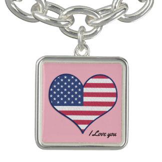 Bracelet Avec Breloques Je t'aime charme américain de coeur