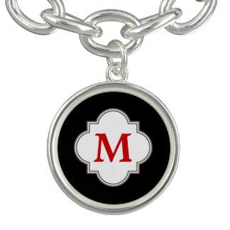 Bracelet Avec Breloques Monogramme noir et rouge