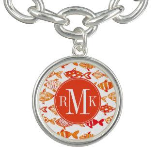 Bracelet Avec Breloques Motif orange lumineux de poissons d'aquarelle