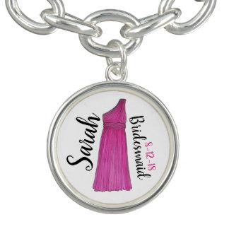 Bracelet Avec Breloques Noce rose personnalisée de robe de demoiselle