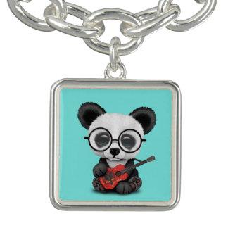 Bracelet Avec Breloques Panda de bébé jouant la guitare albanaise de