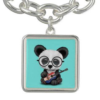 Bracelet Avec Breloques Panda de bébé jouant la guitare croate de drapeau