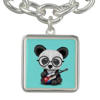 Bracelet Avec Breloques Panda de bébé jouant la guitare cubaine de drapeau