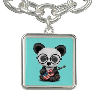 Bracelet Avec Breloques Panda de bébé jouant la guitare de drapeau