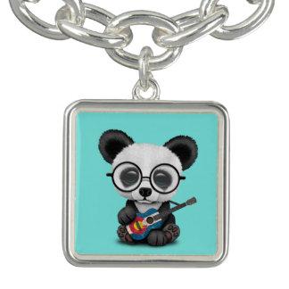 Bracelet Avec Breloques Panda de bébé jouant la guitare de drapeau du