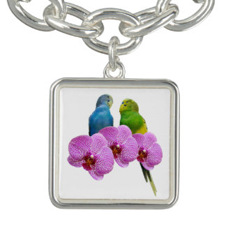Bracelet Avec Breloques Perruche avec l'orchidée pourpre