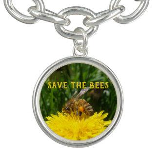 Bracelet Avec Breloques Sauvez les abeilles, cultivez les pissenlits