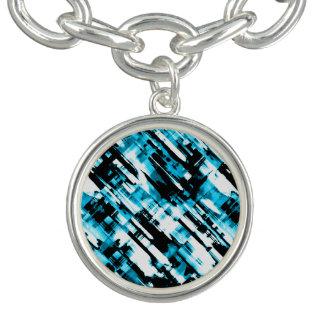 Bracelet Charmez le digitalart abstrait bleu et noir chaud