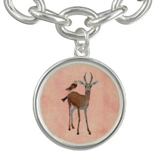 Bracelet de charme de gazelle et de hibou