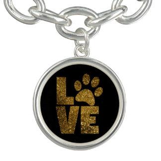 Bracelet de charme de Pawprint d'amour