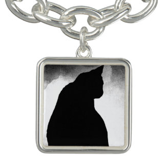 Bracelet de charme de silhouette de chat noir