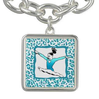 Bracelet de charme de turquoise de gymnastique
