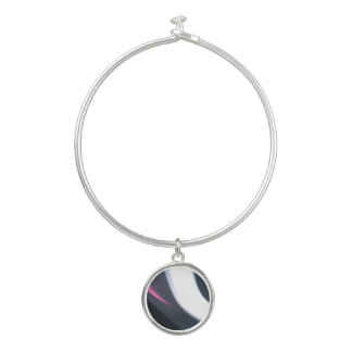 Bracelet Rigide Filets de l'art abstrait de rose, blanc et gris