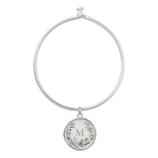Bracelet Rigide Monogramme floral bleu poussiéreux de guirlande