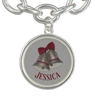 Bracelets Avec Breloques Bells argentées personnalisées épousant le GIF