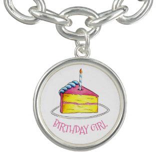 Bracelets Avec Breloques Bougie de tranche de gâteau jaune de rose de fille