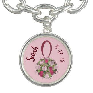 Bracelets Avec Breloques La fleur rose personnalisée de bouquet de mariage