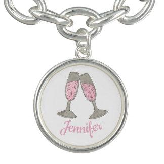 Bracelets Avec Breloques Le pain grillé rose pétillant de Champagne