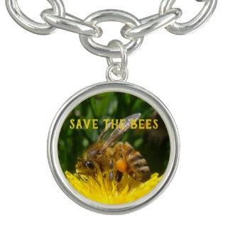 Bracelets Avec Breloques Sauvez les abeilles, cultivez les pissenlits