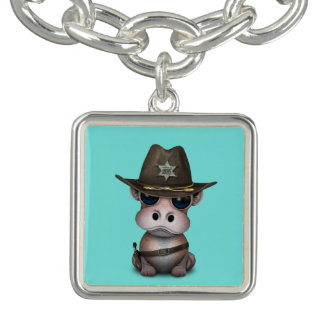 Bracelets Avec Breloques Shérif mignon d'hippopotame de bébé