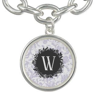 Bracelets Motif gris-clair de papier peint floral avec le