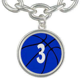 Bracelets Nombre ou initiale bleu du Jersey de joueur de