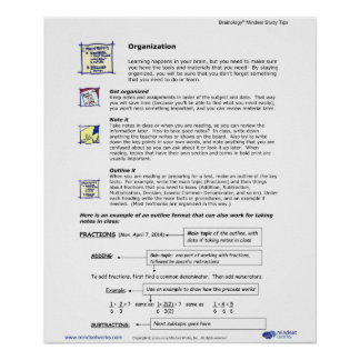 Brainology® Poster4 : Organisation Posters