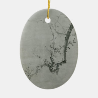 Branche de prune - YI Yuwon Ornement Ovale En Céramique
