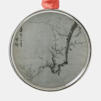 Branche de prune - YI Yuwon Ornement Rond Argenté