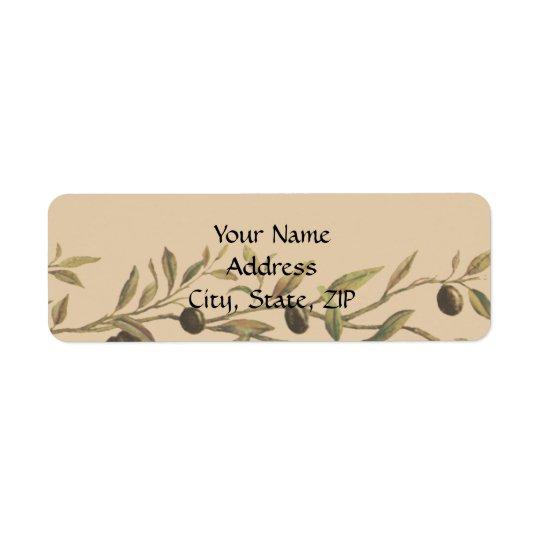 Branche d'olivier : Un contact toscan Étiquettes D'adresse Retour