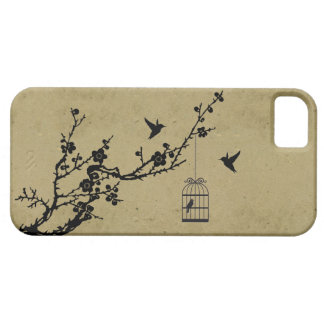 Branche vintage de fleurs de cerisier et silhouett