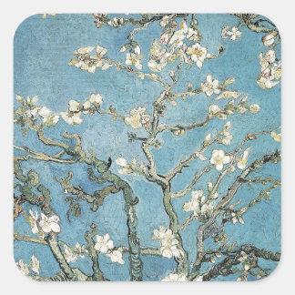 Branches d'amande de Vincent van Gogh | en fleur, Sticker Carré