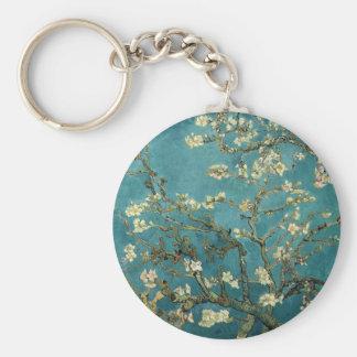 Branches d'amande en fleur porte-clé rond