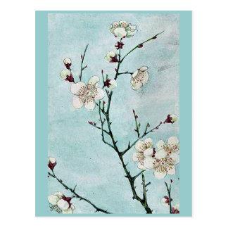 Branches de prune avec les fleurs Ukiyo-e. Carte Postale