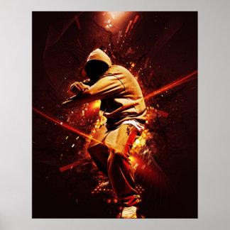 breakdancer de hip-hop sur le feu affiches