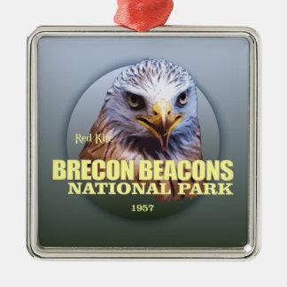 Brecon balise le POIDS du NP (cerf-volant rouge) Ornement Carré Argenté