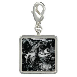 Breloque Art liquide de peinture de texture de marbre noire