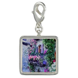 Breloque Avec Photo beau, floral, balcon, Venise, Italie, peinture, W