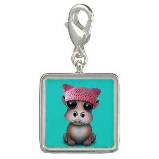 Breloque Avec Photo Casquette de port de chat d'hippopotame mignon de